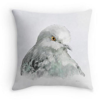 Pigeon Throw Pillow, Bird Decor, Scatter Cushion, 16x16, Neutral Colour Cushion Cover, Birder Gift