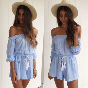overalls for women 2016 strapless jumpsuits waist bandage bodysuit loose overalls summer playsuit rompers womens jumpsuits