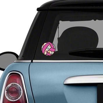 Volleyball Car Decal Colorful Flower Sports Bumper Sticker Teal Turquoise Pink Green