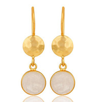 Natural Rainbow Moonstone Dangle Earrings Made In 18K Gold Over Solid Silver