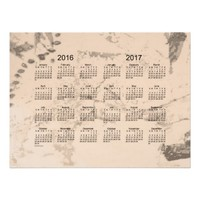 Old Brown Paint 2 Year 2016-2017 Wall Calendar Poster