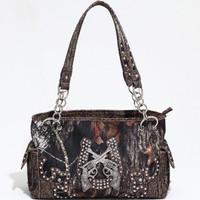 Mossy Oak Horse Shoe and Crossing Pistols Croco Handbag