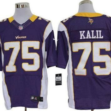 LMFON Nike Vikings #75 Matt Kalil Purple Team Color Mens NFL Elite Jersey