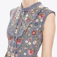 FLORAL JET SLEEVELESS PROM