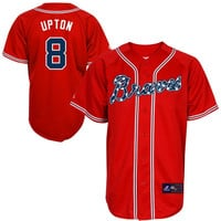 Atlanta Braves Majestic Stars & Stripes Replica Jersey – Red
