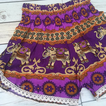 Purple High waist Lace Short Elephants Unique Boho Print Summer Beach Fashion Trim Tribal Aztec Ethnic Clothing Bohemian Ikat Cloth Hobo