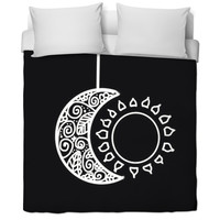 Sun And Moon Black Bed Sheet
