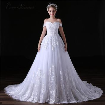 Lace Ball Gown Short Sleeve Wedding Dress Sheer Back Princess Illusion Bridal Gown