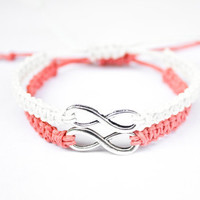 Infinity Friendship Bracelets Coral and White Hemp