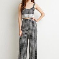 Tile Print Wide-Leg Pants