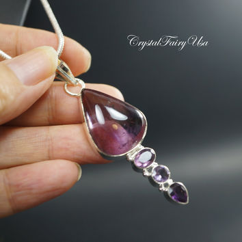 Amethyst Necklace -  Silver Chain Ametrine Necklace - Gift For Mom   Crystal Healing Necklace  February Birthstone