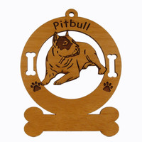1248 American Pitbull Laying Ornament Personalized with Your Dog's Name