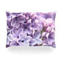 "Sylvia Cook ""Lilac"" Purple Flowers Oblong Pillow"