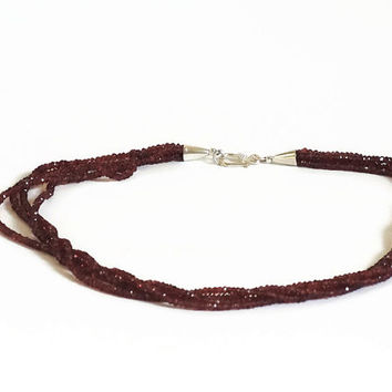 Red garnet necklace, handmade semi precious gemstone 4 strand choker necklace of AAA faceted garnet and silver  with silver clasp.