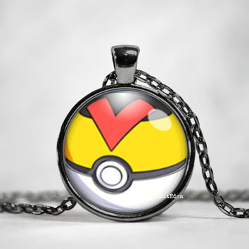 Level Ball Pokeball Pendant, pokemon go, pokemon jewelry, pokemon necklace, japanese anime, fan art,pokeball necklace