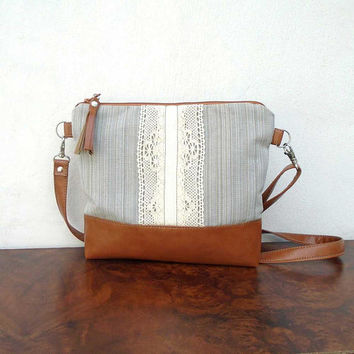 RЕТРО summer cotton bag, beige cotton crossbody bag, caramel leather crossbody purse, smaller everyday shoulder bag, lace and canvas purse