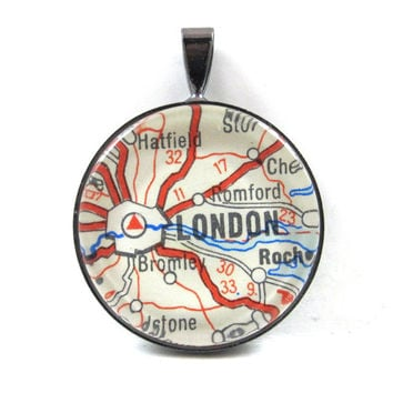 Road Map Pendant of London, England, from Vintage in Glass Tile Circle