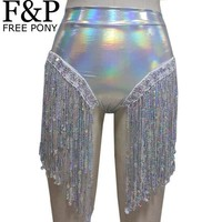 DCCKKFQ Summer Holographic Festival Rave Wear Clothes Outfits Hologram High Waist Fringe Shorts Women Holographic Fabric Bikini Bottoms