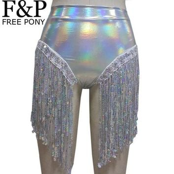 ONETOW Summer Holographic Festival Rave Wear Clothes Outfits Hologram High Waist Fringe Shorts Women Holographic Fabric Bikini Bottoms