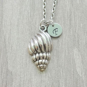 Seashell Initial Necklace Personalized Charm Conch Spiral Clam Sea Life Silver Necklace Ocean Nautical  Beach Wedding Gift Bridesmaid