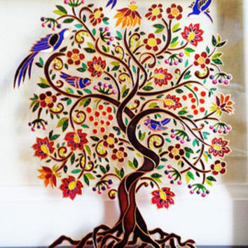 Tree of life art Glass painting Glass art Wall decor Bohemian decor