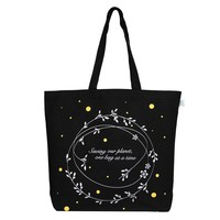 """EcoRight Reusable 100% Cotton Canvas EcoFriendly Large Tote Bag Printed """"Save Our Planet"""" (Black) - 0202A03"""