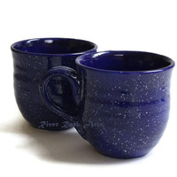 Large Handmade Speckled Cobalt Blue Ceramic Mugs - Set of 2