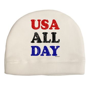 USA All Day - Distressed Patriotic Design Adult Fleece Beanie Cap Hat by TooLoud