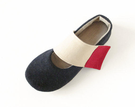 Women's black ballet flats slippers in pure wool & by LaLaShoes
