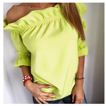 Women's Fashion Leaf Tops Casual Strapless T-shirts [7322490049]