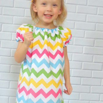 Little Girls Chevron Peasant Dress In Pink Yellow Blue And Green Boutique Clothing By Lucky Lizzy's