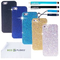 Five GLITTER Cases for iPhone 5 / Four Stylus Pens / Two Screen Protectors - Eco-Fused Microfiber Cleaning Cloth 5.5x3.0 inch included