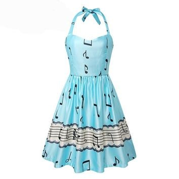 Sexy Backless  Sweet Music Notes Vintage Dress.