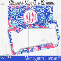 Blue Starfish Monogram License Plate Frame Holder Metal Wall Sign Tags Personalized Custom Vanity Country Girl