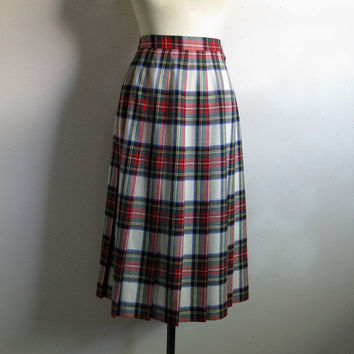 Vintage 80s Petites Plaid Skirt TALBOTS Red White Black 1980s Pleated Pure Wool Skirt 12