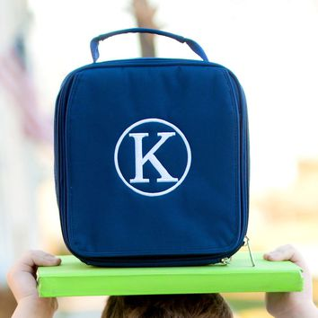 Navy Monogrammed Lunch Box