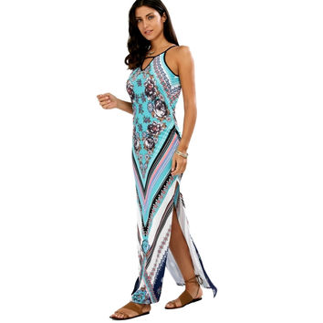 Women Boho Floral Long Maxi Beach Dresses