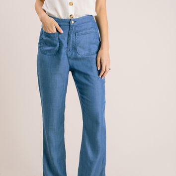 Becky Blue Wide Leg Pants