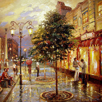 "Summer evening - high quality print with oil painting, 60cm x 60cm, (24""x24""), 2016"