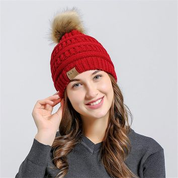 Men Women Baggy Warm Crochet Winter Wool Knit Ski Beanie Skull Slouchy Caps Hat Imitation raccoon hair ball vertical knitting ha