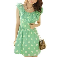 Women Layers Ruffled Collar Scoop Neck Dots Pattern Chic Mini Dress