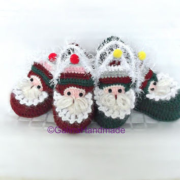 Santa Baby Shoes,Crochet Santa Slippers,Christmas Toddler Shoes,Baby Booties,Child Baby Slippers,Toddler Shoes,Baby  Christmas Gift