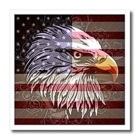 3dRose ht_116181_1 Ornate Patriotic Bald Eagle and USA American Flag Pride Great-Iron on Heat Transfer for White Material, 8 by 8-Inch