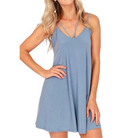 Women's Slate Blue Strappy Sleeveless Summer Shift Dress
