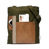 Men's leather canvas satchel, leather canvas man bag, large bag, messenger leather purse, ipad laptop messenger bag , cross body bag