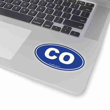 Colorado CO Euro Oval Sticker BLUE SOLID