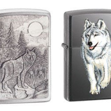 Zippo Lighter Set - Timberwolves Pewter Emblem and Walking Wolf Black Ice, Pack of Two
