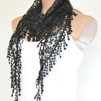 Lace Scarf Black Scarf Lace Fringe Scarf Triangle Scarf Fringe Shawl Lace Headband Fashion Accessory Women Accessory Christmas Gift
