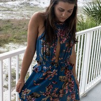 Trip To Cali Vintage Blue Floral Halter Dress