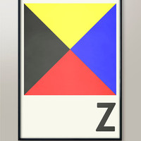 Naval Flag Signalling Codes, Letter Z, Naval Flags, Naval Signal, Nautical Art, Nautical Sign, Navy Sign, Martime Code, Maritime Flag, Decor